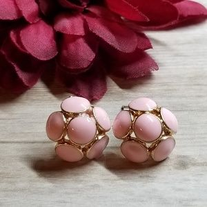 Pink & Gold 3D Half Ball Stud Earrings